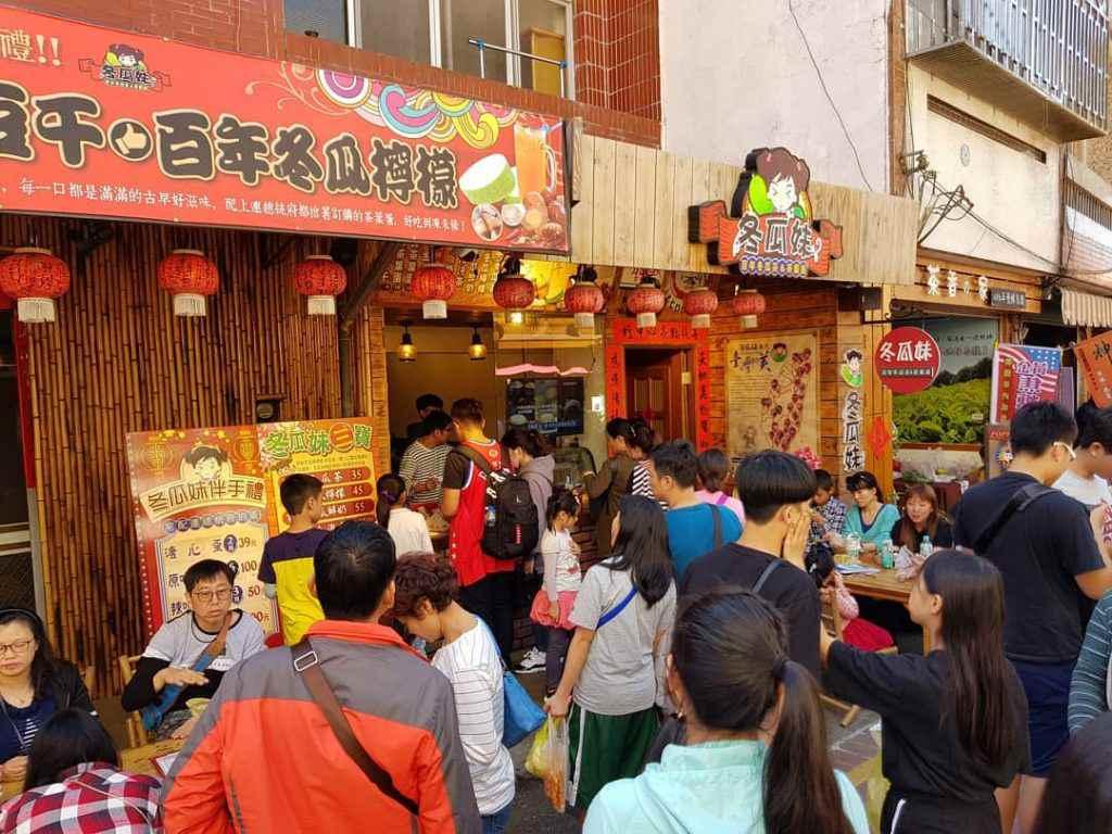 梅山太平老街 假日期間,冬瓜妹滿滿的人潮